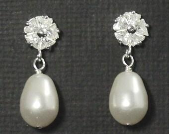 Wedding Drop Earrings, Bridal Earrings Studs, Posts, Wedding Jewelry, Cubic Zirconia Bridal Earrings, -- FLORAL LUXE