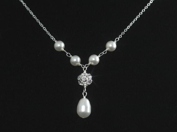 Rhinestone and Pearl Necklace -- Vintage Wedding Necklace, Pearl Drop, Y Drop, Y Necklace, Handwrapped, Swarovski, Silver -- PORTIA