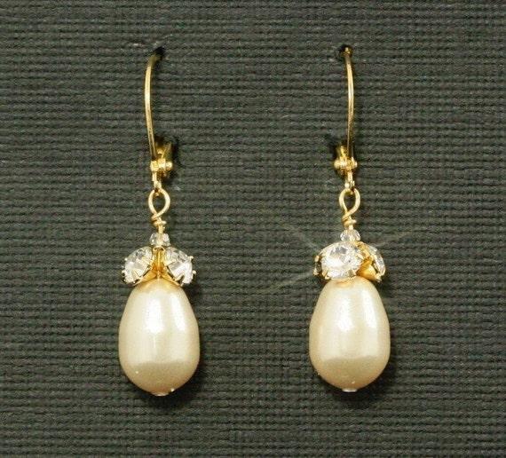 Rhinestone & Pearl Earrings, Gold Drops -- Wedding Jewelry, Swarovski Crystal Pearl and Rhinestone Drops, Cream and Gold -- MARIANNE