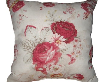 Floral Throw Pillow -  Waverly Norfolk Rose Vintage Decorative Throw Pillow Free Shipping