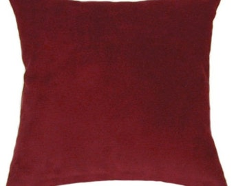 Red Wine Faux Suede Decorative Throw Pillow Free Shipping