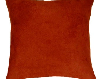 Rust Throw Pillow - Rust Faux Suede Decorative Throw Pillow Free Shipping