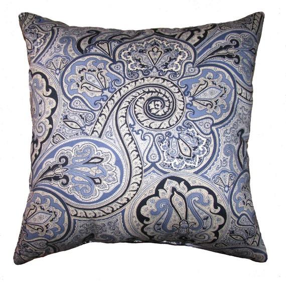 Porcelain Blue Decorative Pillows : Items similar to Paddock Shawl Paisley Porcelain Blue STUFFED Decorative Throw Pillow / 18 x 18 ...