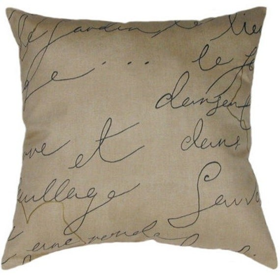 Winter SALE French Writing Throw Pillow by LandofPillowsDotCom