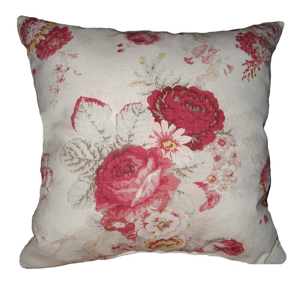 Floral Throw Pillow Waverly Norfolk Rose Vintage Decorative