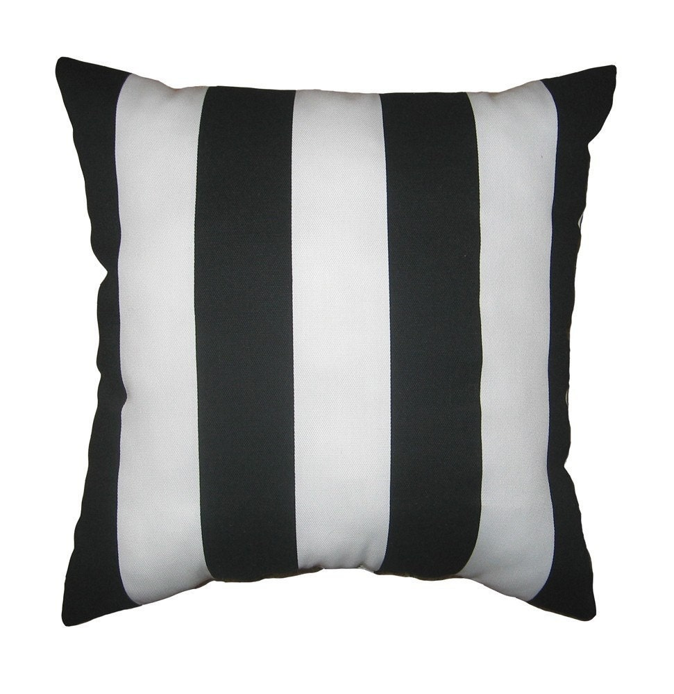 black and white stuffed stripe throw pillow deck stripe. Black Bedroom Furniture Sets. Home Design Ideas