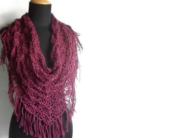 Boho Lace Fringed Scarf Shawl in Auberguine burgundy Eco Friendly Hemp Yarn Summer Spring Fashion Made to Order