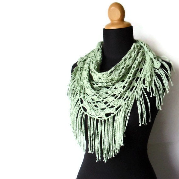 On Sale Sage Green Hemp, Cotton and Modal Triangle Scarf with Fringe Lace Eco Friendly Ready to Ship