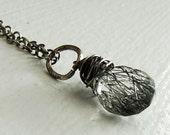 Raw Tourmalated Black and White Gemstone Quartz Necklace