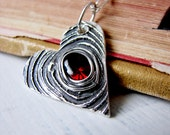 Red and Black Wood Grain Heart Pendant