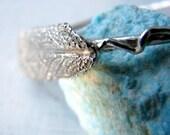 Sterling Silver Sage Leaf Bangle. Leaf Bracelet. Organic Cuff. Natural Cuff