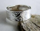 Wedding Band. Paisley Wedding Ring. Sterling Silver Ring. Engravable Ring. Mens Wedding Ring. Silver Wedding Ring