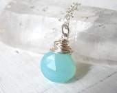 Wire Wrapped Turquoise Blue Chalcedony Pendant with Sterling Silver Necklace