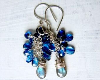 Sterling Silver Blue Sapphire Wirewrapped Chandelier Earrings