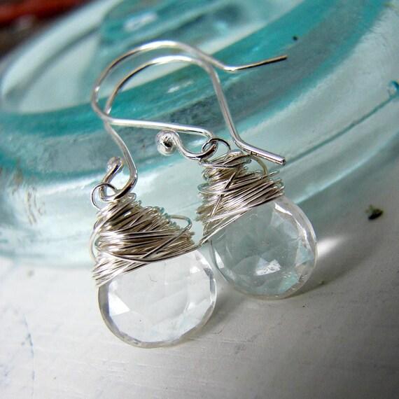 Sterling Silver Clear Quartz Wirewrapped Dangle Earrings