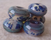 boro glass lampwork beads blue yellow MORNING DEW