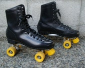 Vintage 1970s Black and Yellow Roller Skates Men's size 10
