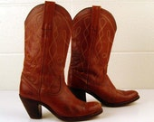Vintage 1970s Frye Deep Whiskey Brown Stacked Heel Cowboy Boots Women's size 7 B