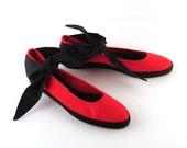 Red Sneakers Vintage 1980s Liz Claiborne Ballet Flats Ankle ties Women's size 8 B