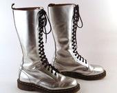 Doc Martens Boots Vintage 1990 Silver Dr Martens Boots UK Size 7