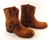 Frye Harness Boots Vintage 1980s Brown Leather Men's size 10 1/2