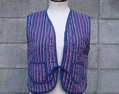 Vintage 1970s Quilted Vest Stripes Cotton Hippie