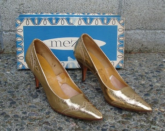 Gold High Heels Vintage 1950s Mezzo Metallic Shoes Pointy Nordstroms Women's Size 9 S