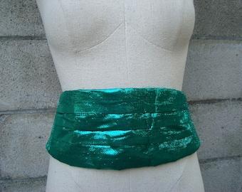 Vintage 1980s Metallic Green Cumberbun