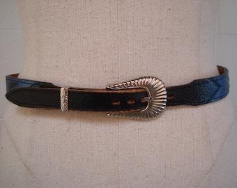 Southwestern Leather Belt Vintage 1980s Centerville Painted Leather Western Belt