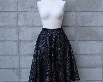 Glitter Circle Skirt Vintage 1950s Felt  in Black with silver fifties
