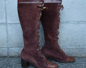 Vintage 1980s Beautiful Walter Steiger Brown Leather and Suede Lace up Boots