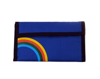 Rainbow velcro wallet Vintage 1980s 80s Long Checkbook Blue