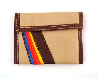 Velcro Wallet Vintage 1980s Tan and Brown Rainbow Velcro Wallet