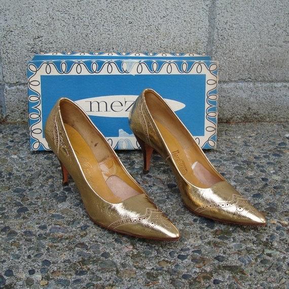 Gold High Heels Vintage 1950s Mezzo Metallic Shoes Pointy Nordstroms Women's Size 9 S