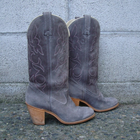 vintage 1980s cowboy boots gray suede acme s 5 1 2