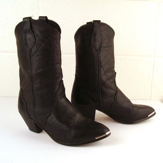 Vintage 1980s Black Slouch Leather Cowboy Boots Stacked heel Women's 7 1/2