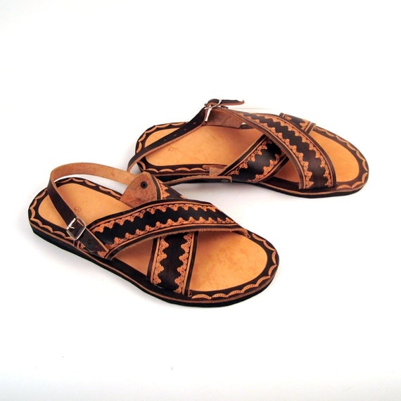 Vintage 1980s Stamped Leather Sandals Men's size 9