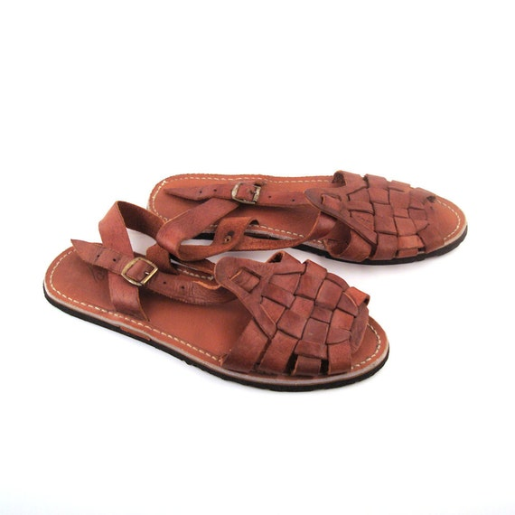 Vintage 1970s Mens Woven Leather Huarache Sandals With Tire