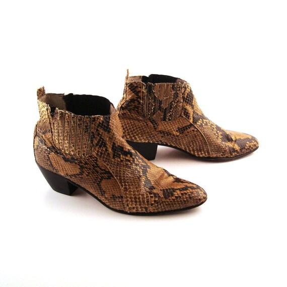 Snakeskin Boots Vintage 1980s Women's size 7 1/2