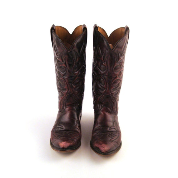 Cowboy Boots Vintage 1980s Men's Burgundy Acme  size 7 Narrow RR056