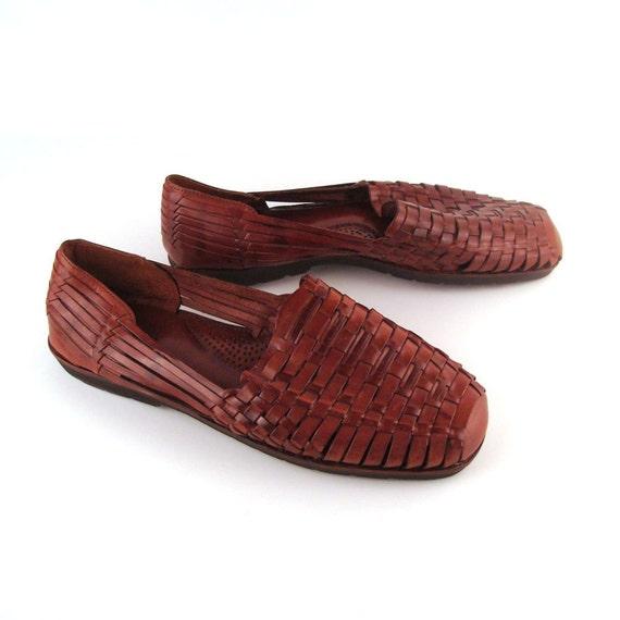 mens huarache sandals vintage 1980s mens woven leather