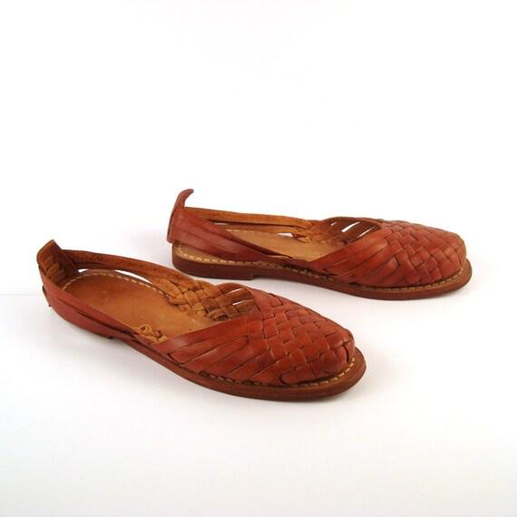 Brown Woven Sandals Vintage 1980s Huaraches Women's size 8