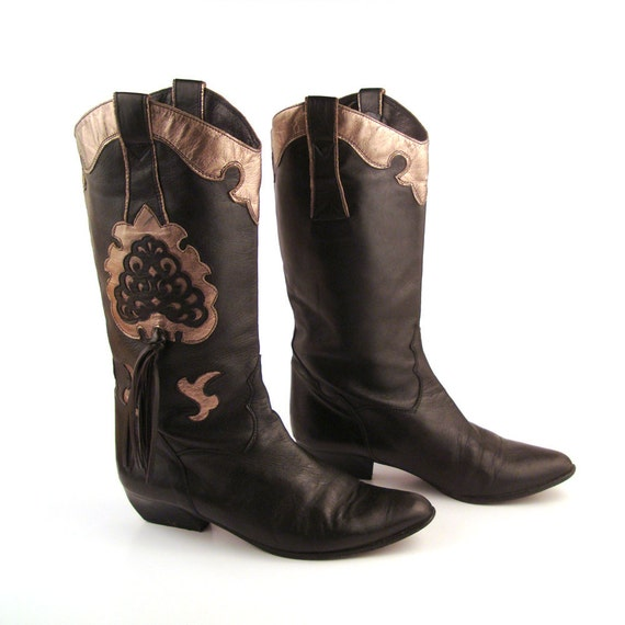 black cowboy boots vintage lenni made in italy 1980s black and