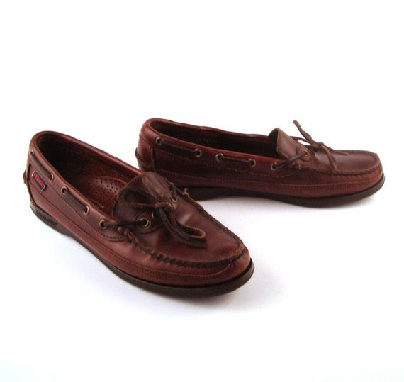 Sebago Boat Shoes Vintage 1980s  Brown Leather Loafer Shoes Women's 8 Docksides