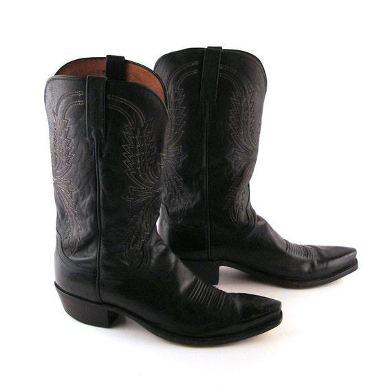 Black Cowboy Boots Vintage 1980s Luchesse 1883 Men's Black Leather Cowboy Boots size 11 RR003