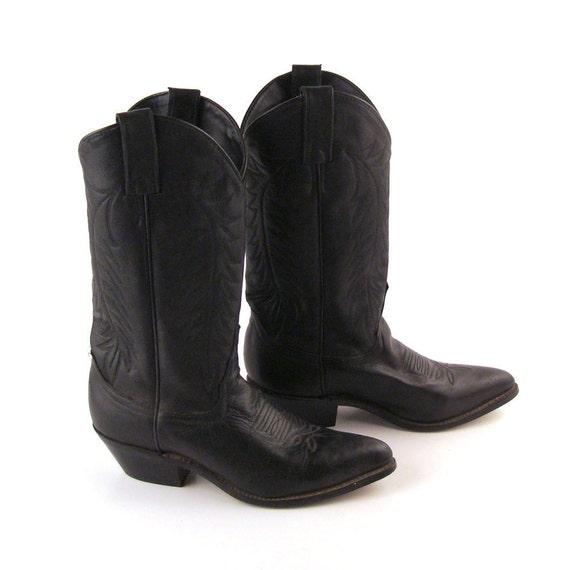 Black Cowboy Boots Vintage 1980s Leather Women's 6 1/2