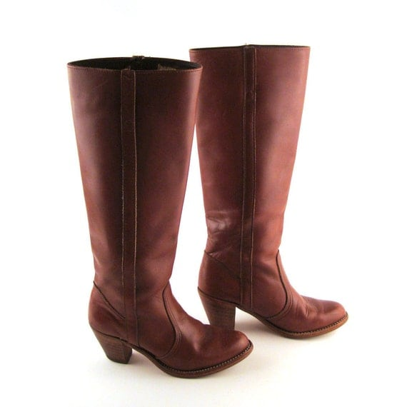 Dexter Boots Vintage 1970s Stacked Heel Riding Boots Dex  Burgundy Whiskey Brown Women's size 6