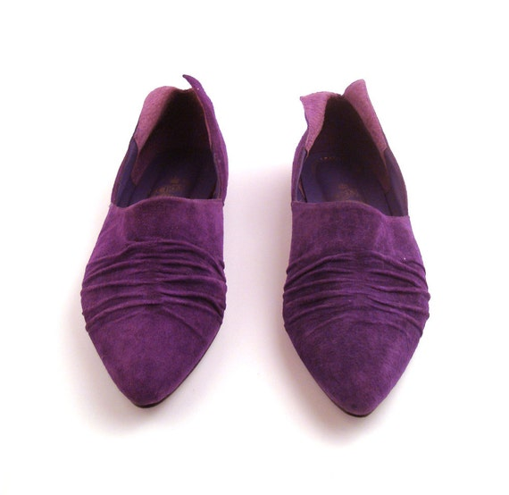 Flats Shoes Vintage 1980s Loafers Purple Suede Leather Women's size 9 B