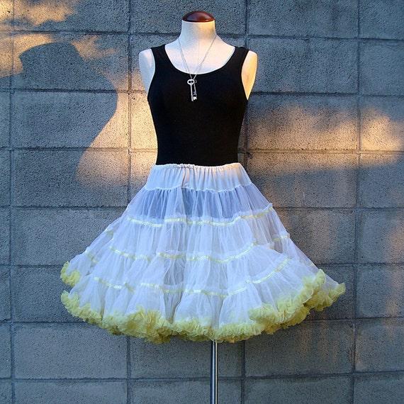 Vintage 1950s Yellow and White Puffy Crinoline Tutu Petticoat Skirt Super Full