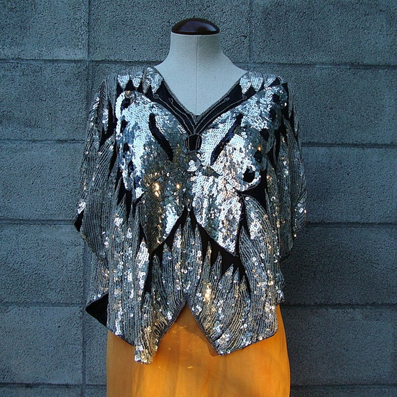 Vintage India Butterfly Sequined Top Indian Beaded Gauze Shirt Blouse